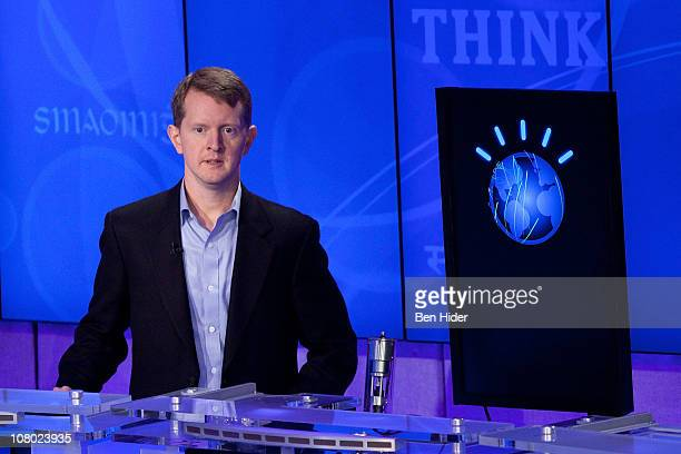 """Contestant Ken Jennings competes against 'Watson' at a press conference to discuss the upcoming Man V. Machine """"Jeopardy!"""" competition at the IBM..."""