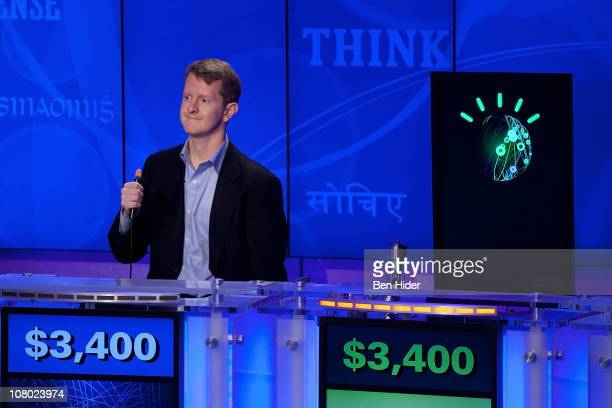 Contestant Ken Jennings competes against 'Watson' at a press conference to discuss the upcoming Man V Machine Jeopardy competition at the IBM TJ...