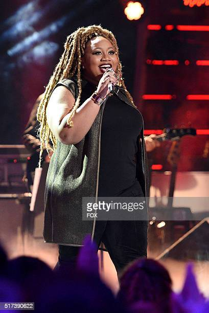 Contestant La'Porsha Renae performs onstage at FOX's American Idol Season 15 on March 24, 2016 in Hollywood, California.