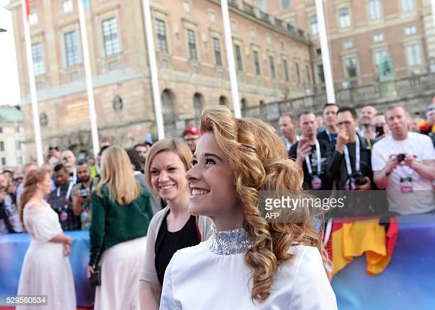 Contestant Laura Tesoro of Belgium arrives to the opening party for Eurovision Song Contest on May 08, 2016 at the Euroclub in central Stockholm,...