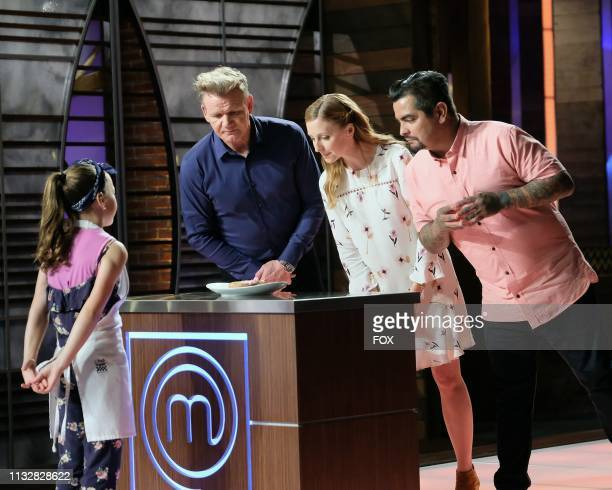 Contestant Malia with judge / host Gordon Ramsay and judges Christina Tosi and Aarón Sanchez in the Junior Edition Off the Hook episode of MASTERCHEF...