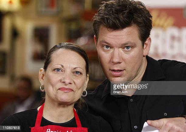 Contestant Marie Lavelle and Chef Tyler Florence during Tyler Florence Judges Applebee's Big Burger Showdown on October 4 at Applebee's in Times Sq...