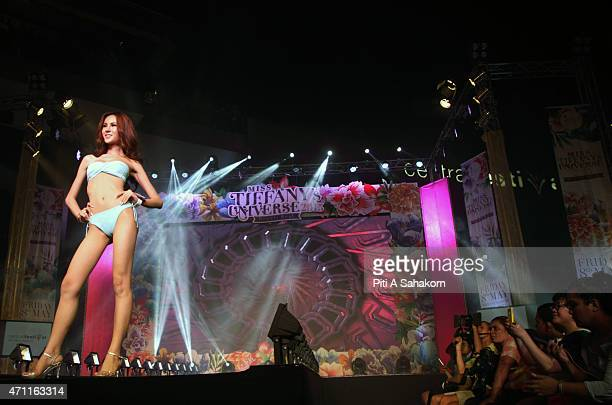 Contestant of Miss Sexy Star 2015 swimming suit contest poses for photographs during the Miss Tiffany Universe contest in Pattaya The winner will...