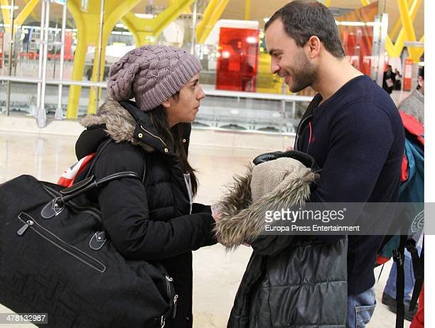 Contestant of 'Supervivientes 2014' Tv show Anabel Pantoja and Antonio Tejado are seen at Barajas Airport to travel to Honduras to shoot the Tv show...