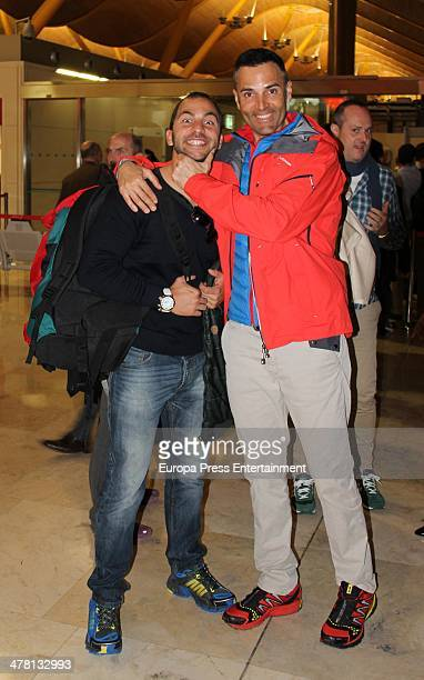 Contestant of 'Supervivientes 2014' Tv show Antonio Tejado and Rafael Lomana are seen at Barajas Airport to travel to Honduras to shoot the Tv show...