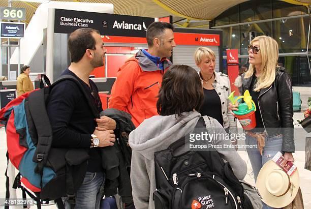 Contestant of 'Supervivientes 2014' Tv show Antonio Tejado Rafael Lomana Aran Aznar and Bibiana Fernandez are seen at Barajas Airport to travel to...