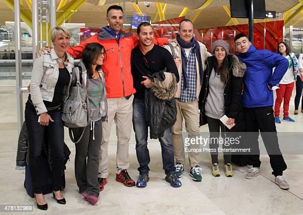 Contestant of 'Supervivientes 2014' Tv show Aran Aznar guest Rafael Lomana Antonio Tejado Nacho Montes Anabel Pantoja and Yong Li are seen at Barajas...