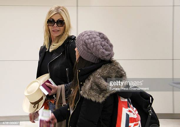Contestant of 'Supervivientes 2014' Tv show Bibiana Fernandez and Anabel Pantoja are seen at Barajas Airport to travel to Honduras to shoot the Tv...