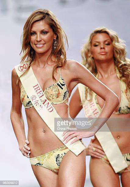 Contestant of the 55th Miss World 2005 Aoife Mary Cogan of Ireland performs during the Beachwear Final at the Sheraton Sanya Resort on December 6...