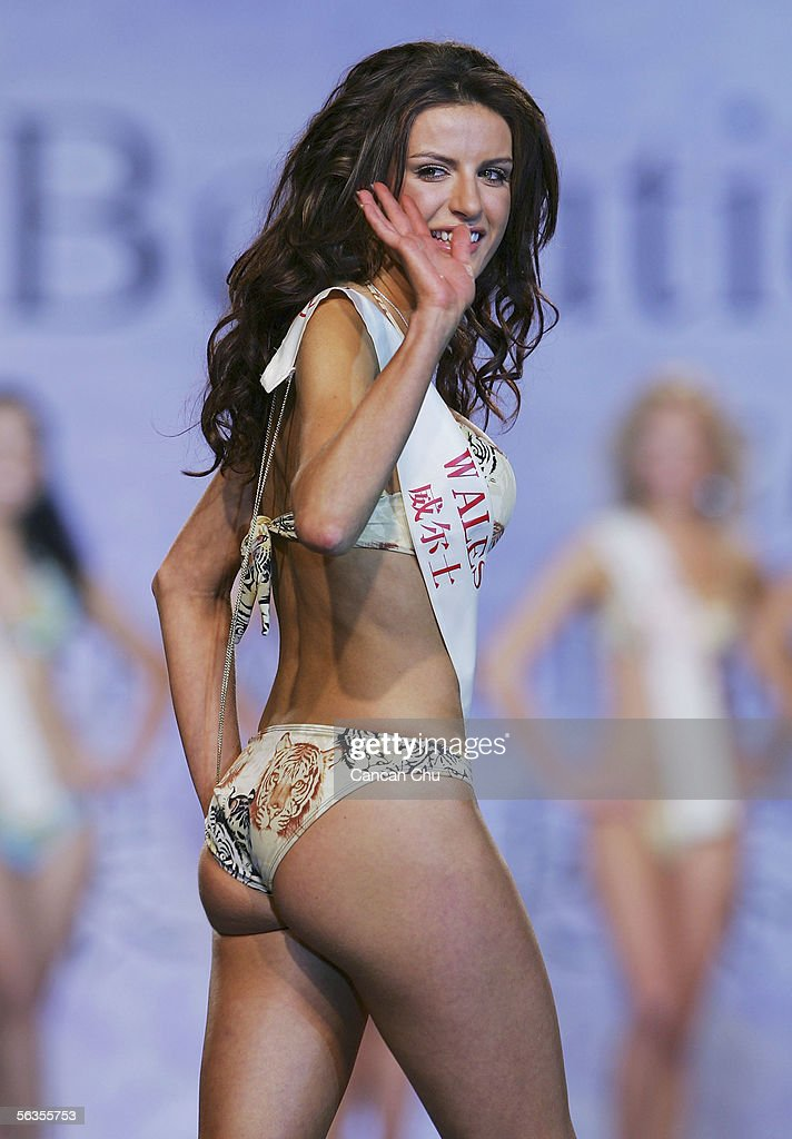 Contestant of the 55th Miss World 2005, Claire Evans of Wales performs during the Beachwear Final at the Sheraton Sanya Resort on December 6, 2005 in Sanya, Hainan Island of China. Miss Russia Yulia Ivanova won the event. The final of Miss World 2005 will be held in Sanya on December 10.