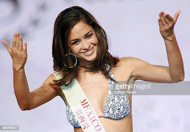 Contestant of the 55th Miss World 2005 Dafne Molina Lona of Mexico performs during the Beachwear Final at the Sheraton Sanya Resort on December 6...