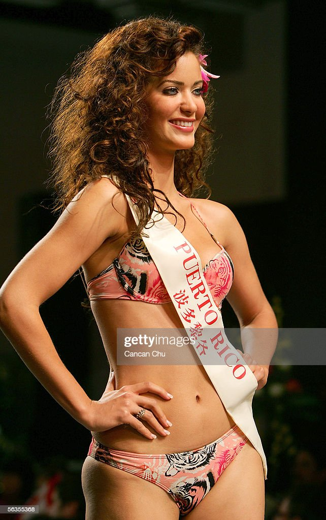 Contestant of the 55th Miss World 2005, Ingrid Marie Rivera Santos of Puerto Rico competes during the Beachwear Final at the Sheraton Sanya Resort on December 6, 2005 in Sanya, Hainan Island of China. Miss Russia Yulia Ivanova won the event. The final of Miss World 2005 will be held in Sanya on December 10.