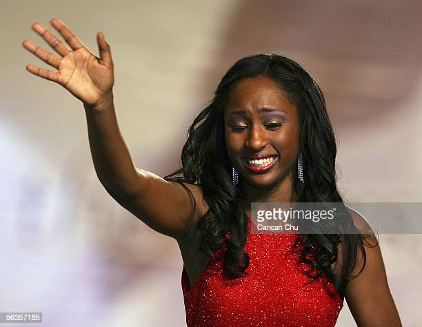 Contestant of the 55th Miss World 2005 KmishaVictoria Counts of American Virgin Islands celebrates after winning the Talent Show during the Beachwear...