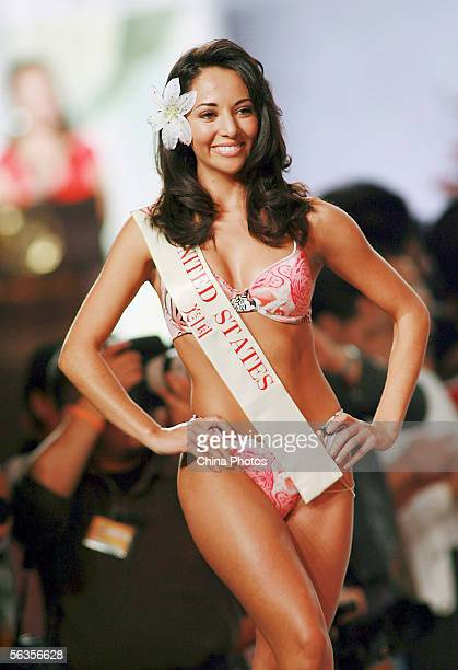 Contestant of the 55th Miss World 2005 Lisette Diaz of The USA performs during the Beachwear Final at the Sheraton Sanya Resort on December 6 2005 in...