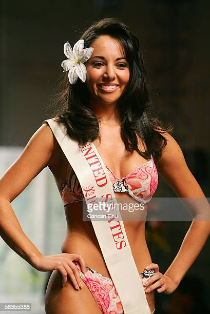 Contestant of the 55th Miss World 2005 Lisette Diaz of United States competes during the Beachwear Final at the Sheraton Sanya Resort on December 6...