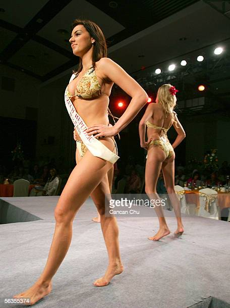 Contestant of the 55th Miss World 2005 Lucie Kralova of Czech Republic competes during the Beachwear Final at the Sheraton Sanya Resort on December 6...
