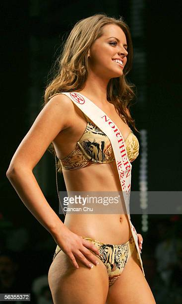 Contestant of the 55th Miss World 2005 Lucy Avril Evangelista of Northern Ireland competes during the Beachwear Final at the Sheraton Sanya Resort on...