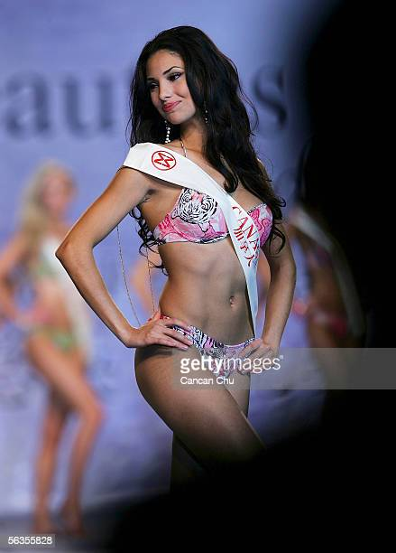 Contestant of the 55th Miss World 2005 Ramona Rina Amiri of Canada performs during the Beachwear Final at the Sheraton Sanya Resort on December 6...