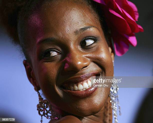 Contestant of the 55th Miss World 2005 TerriKarelle Griffith of Jamaica attends a dinner party after the Beachwear Final at the Sheraton Sanya Resort...