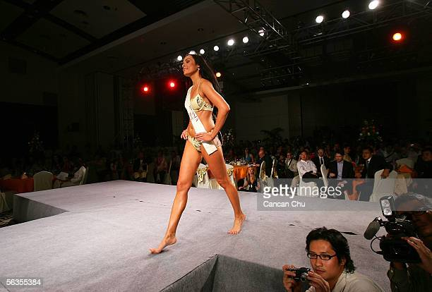 Contestant of the 55th Miss World 2005 Yulia Ivanova of Russia competes during the Beachwear Final at the Sheraton Sanya Resort on December 6 2005 in...