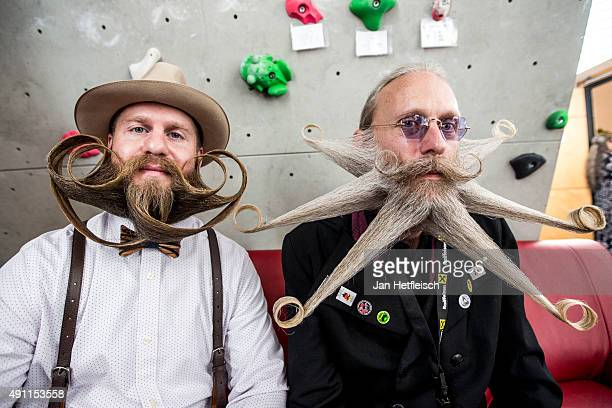 Contestant of the World Beard And Mustache Championships pose for a picture during the Championships 2015 on October 3, 2015 in Leogang, Austria....