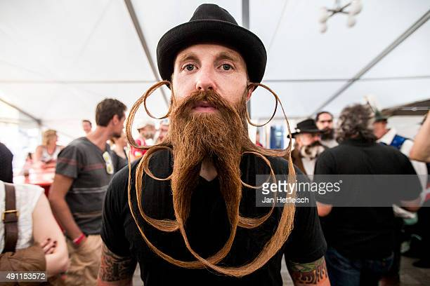 Contestant of the World Beard And Mustache Championships poses for a picture during the Championships 2015 on October 3, 2015 in Leogang, Austria....