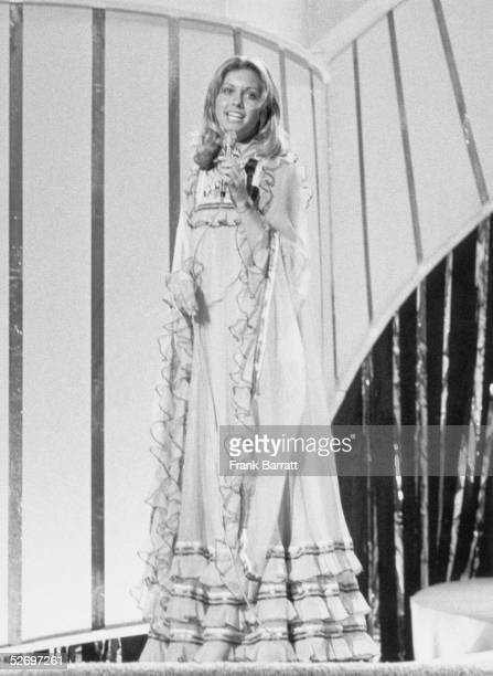Contestant Olivia Newton-John performs 'Long Live Love' during the final dress rehearsal for the Eurovision Song Contest at the Dome, Brighton, 6th...
