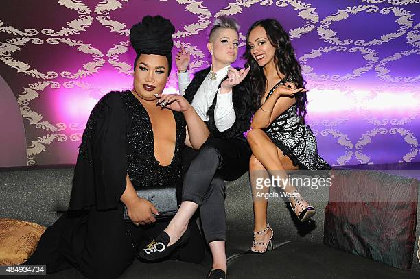 Contestant Patrick Simondac host Kelly Osbourne and contestant Rosy McMichael attend the 4th Annual NYX FACE Awards at Club Nokia on August 22 2015...
