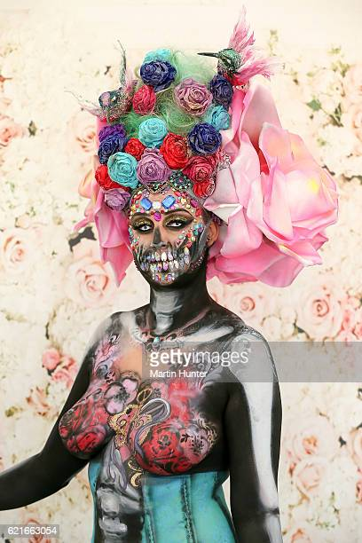 A contestant poses in the Body Art during New Zealand Trotting Cup Day at Addington Raceway on November 8 2016 in Christchurch New Zealand