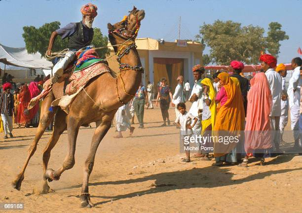 A contestant rides past spectators during a camel race at the annual Camel Fair held every November 20 1999 in Pushkar a town in Rajasthan India This...