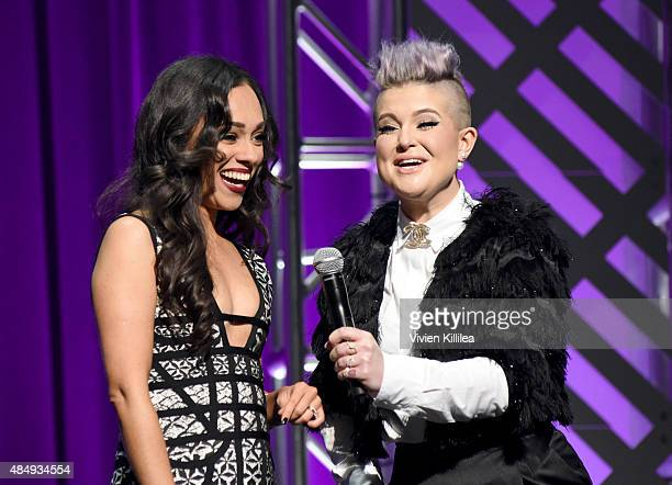 Contestant Rosy McMichael and host Kelly Osbourne speak onstage during the 4th Annual NYX FACE Awards at Club Nokia on August 22 2015 in Los Angeles...