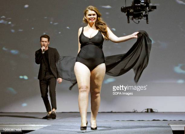 A contestant seen on stage during the Miss Ukraine Plus Size beauty pageant in Kiev 22 female contestants competed in the contest the first held in...
