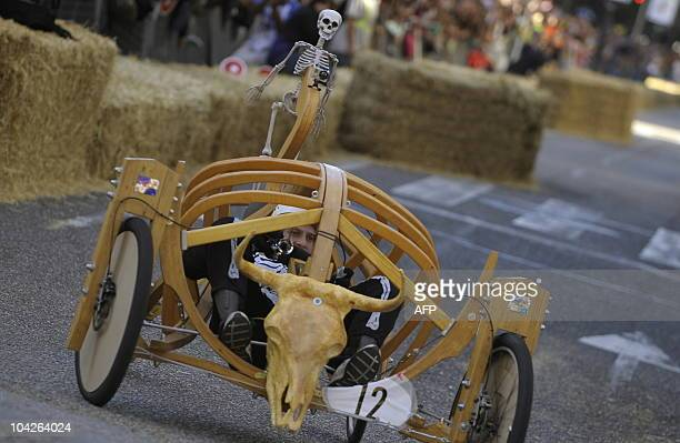 A contestant takes part in the Red Bull Wacky Races in Vigo northwestern Spain on September 19 2010 AFP PHOTO/MIGUEL RIOPA