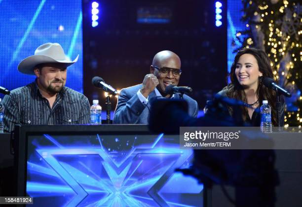 "Contestant Tate Stevens, X Factor Judges L.A. Reid and Demi Lovato attend Fox's ""The X Factor"" season finale news conference at CBS Television City..."