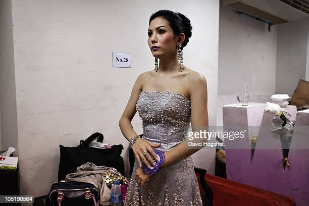 Contestant Wannarat Suwannawargsa takes a moment to herself on the final night of Miss Tiffany's Universe May 15 2009 in Pattaya Thailand Thirty...