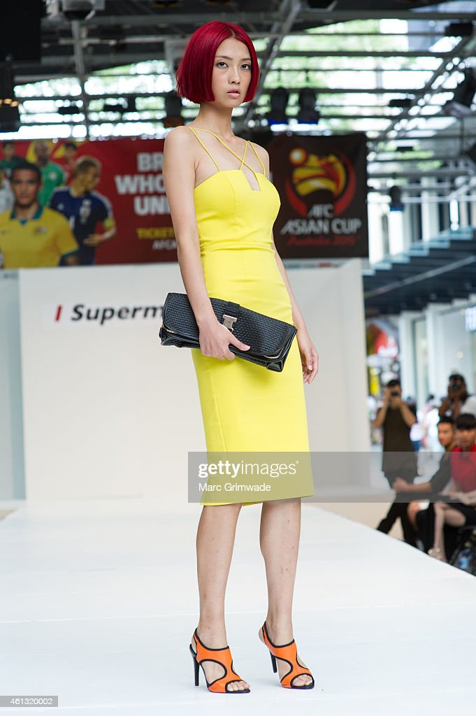 Contestant Yao during an event to promote television program, 'I, Supermodel' and the AFC Asian Cup at Queen Street Mall on January 11, 2015 in Brisbane, Australia.