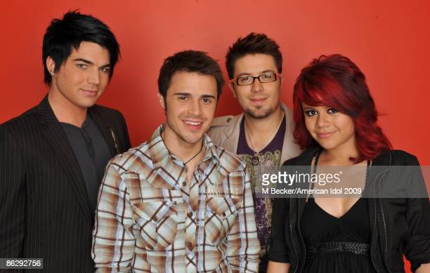 ACCESS*** Contestants Adam Lambert Kris Allen Danny Gokey and Allison Iraheta are seen backstage on the American Idol Season 8 Top 5 Elimination Show...