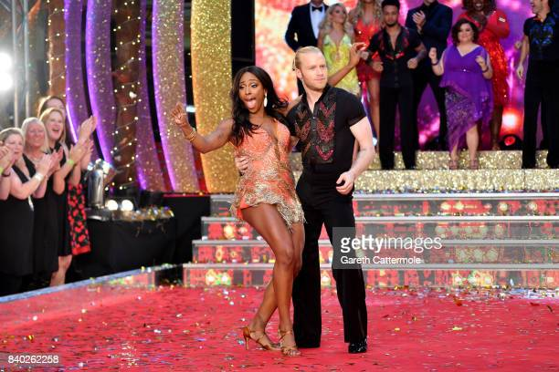 Contestants Alexandra Burke and Jonnie Peacock attend the 'Strictly Come Dancing 2017' red carpet launch at The Piazza on August 28 2017 in London...