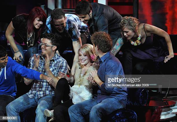 ACCESS*** Contestants Allison Iraheta Matt Giraud Kris Allen Megan Joy Corkrey Anoop Desai Danny Gokey Alexis Grace and Scott MacIntyre are seen...