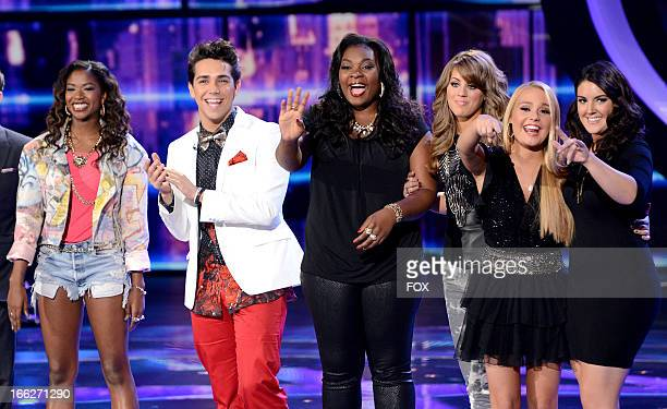 Contestants Amber Holcomb Lazaro Arbos Candice Glover Angie Miller Janelle Arthur and Kree Harrison onstage at FOX's American Idol Season 12 Top 6...