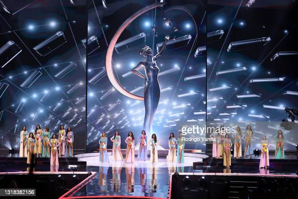 Contestants appear onstage at the 69th Miss Universe competition at Seminole Hard Rock Hotel & Casino on May 16, 2021 in Hollywood, Florida.