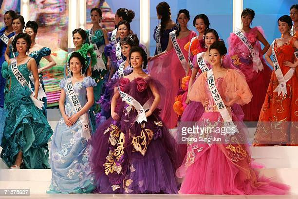 Contestants appear onstage during the Miss Korea 2006 beauty pageant August 3 2006 in Seoul South Korea Honey Lee a 23yearold graduate student beat...