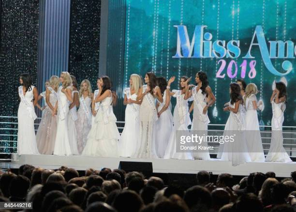 Contestants are seen on stage during the 2018 Miss America Competition Show at Boardwalk Hall Arena on September 10 2017 in Atlantic City New Jersey