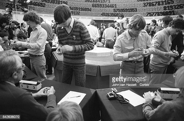 Contestants at the first Rubik's Cube Championship in France