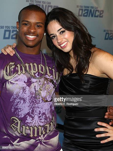Contestants Brandon Bryant and Jeanine Mason arrive at the finale of So You Think You Can Dance held at the Kodak Theater on August 6 2009 in...