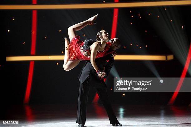 Contestants Brandon Bryant and Jeanine Mason perform at the So You Think You Can Dance finale held at the Kodak Theater on August 6 2009 in Hollywood...
