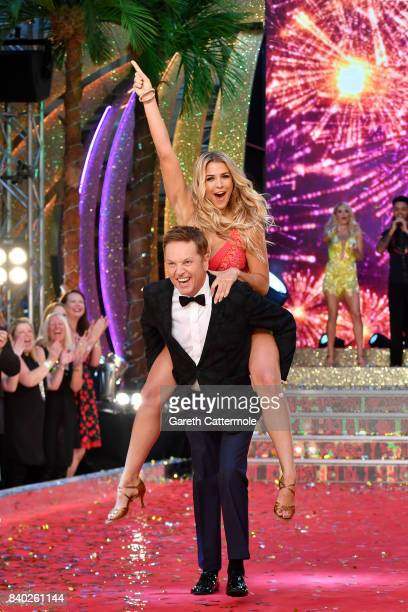 Contestants Brian Conley and Gemma Atkinson attend the 'Strictly Come Dancing 2017' red carpet launch at The Piazza on August 28 2017 in London...