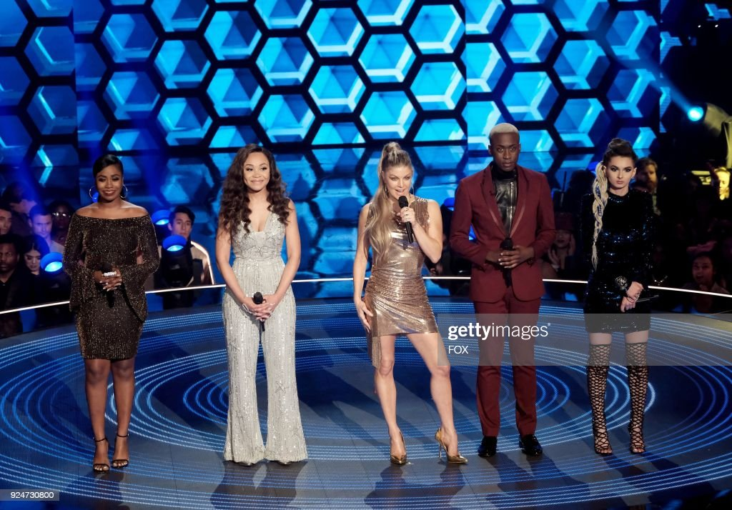 Contestants Candice Boyd and Evvie McKinney, host Fergie, and contestants Vincint and Zhavia in the 'Finale' season finale episode of FOXs