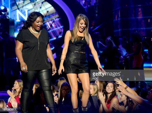 Contestants Candice Glover and Angie Miller perform onstage at FOX's American Idol Season 12 Top 4 Live Performance Show on April 24 2013 in...