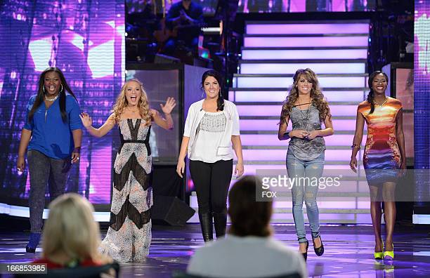 Contestants Candice Glover Janelle Arthur Kree Harrison Angie Miller and Amber Holcomb onstage at FOX's American Idol Season 12 Top 5 Live...